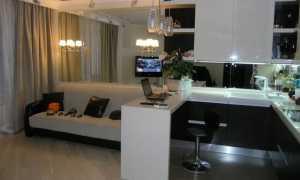 Интерьер гостиной, совмещенной с кухней 18, 20, 25 кв м