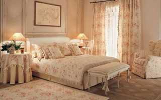 Шторы и обои для спальни в стиле Прованс