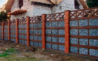 Установка бетонного забора из блоков