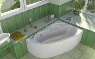 Размеры угловых ванн